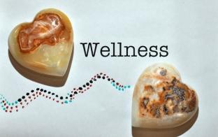 Two heart-shaped stone + wellness