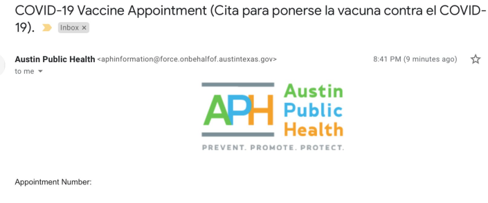 Screen shot of my Austin Public Health appointment confirmation